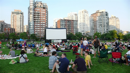 People enjoying an outdoor movie in Vancouver BC